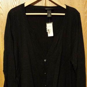 Lane Bryant Size 26/28W Black V-neck Cardigan, NWT